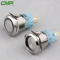 19mm diameter stainless steel momentary flat actuator push button switch