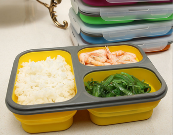 wholesale high quality food grade silicone bento lunch box with three compart. Black Bedroom Furniture Sets. Home Design Ideas