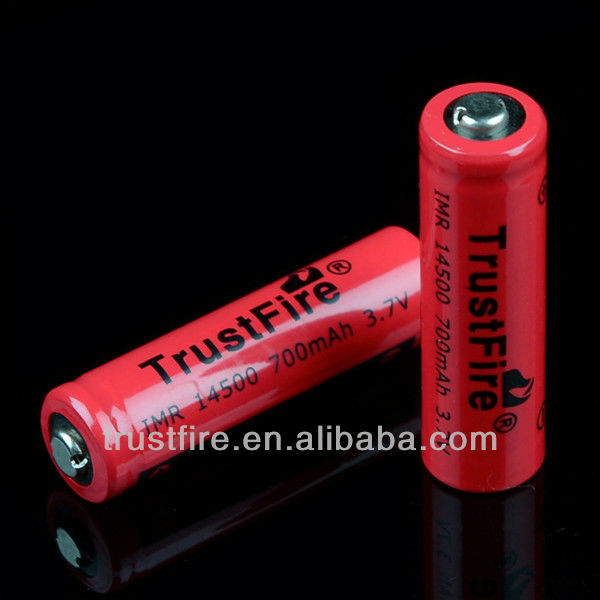 1.5v aa rechargeable battery IMR14500 rechargeable battery for e-cigarette 700mah trustfire IMR14500 li-ion battery cell