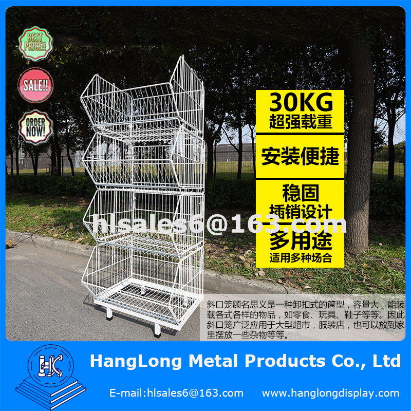 Supermarket folding and logistic wire roll cages double stacking