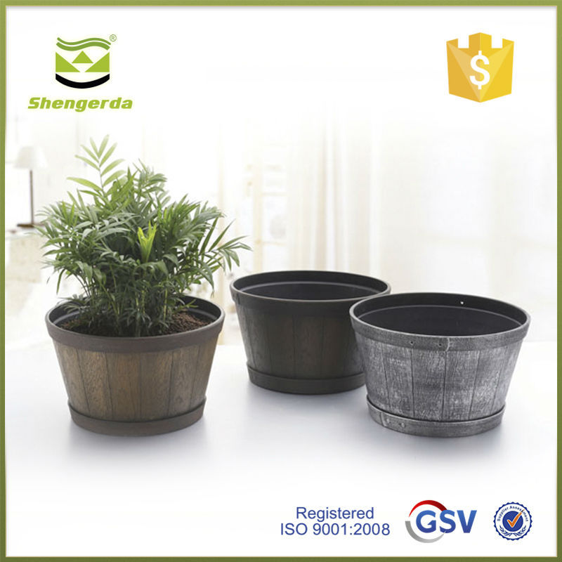 wooden house flower pots decorative plastic plant pots small wood containers