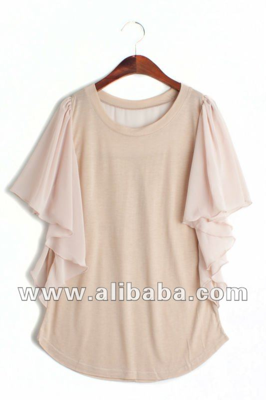 Elegant Winged Drapery Chiffon Mix Top/T-Shirts_Womens Casual Aparrel