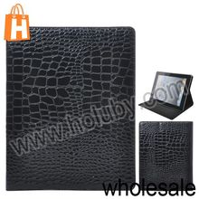 Luxurious Glossy Crocodile Texture Stand Side Flip Leather Case Cover for iPad 2 Multi Colors