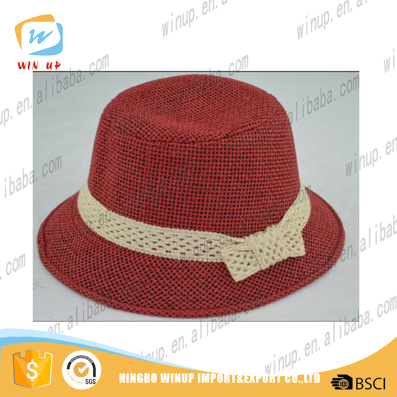 wholesale lady fedora hat Ribbon decorate round top hat