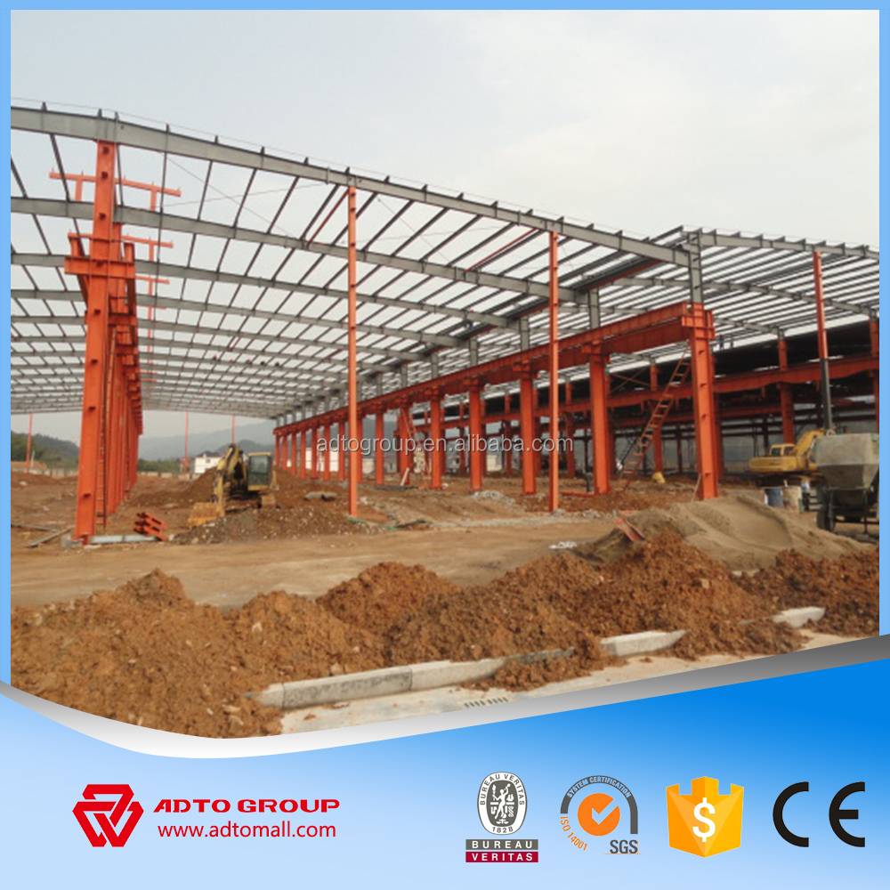 Prefabricated Portal Building Design Steel Structure Frame Metal Welding Storage Warehouse Car Workshop Industrial Shed For Sale