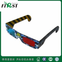 Custom logo cheap recycled red blue Cardboard 3d paper glasses in great quality promotional stytle