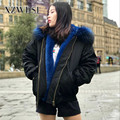 CX-G-P-19H Handmade Woman Blue Real Fox Fur Lining Jacket Parka