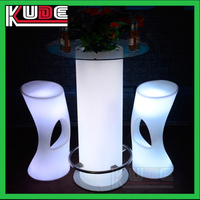 glass top round bar table led bar counter for party events LED bar furniture Morden