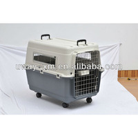 Large plastic multifunctional pet cage for travel with two handle and wheels