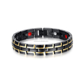 Black 316L Health Titanium Steel Bracelet with magnetic stone for female use