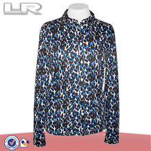 Latest Designs Black, Blue & White Daubed Leopard Printed Blouse Shirt for Women