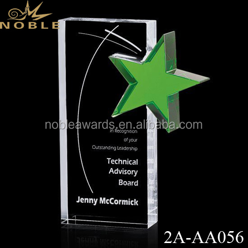 New Design Crystal Green Star Trophy Award