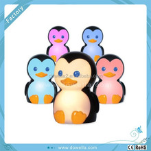 Custom plastic animal light up pvc penguin soft toy with changing color