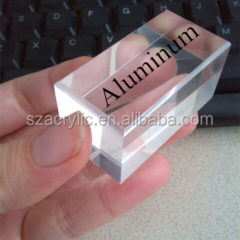 clear acrylic cube display with chamfer and silkscreen logo