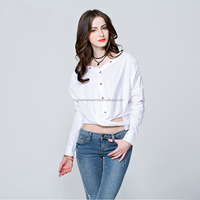 Hot sale new model long sleeve fashion cutting blouse design