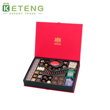 Luxury truffle packing gift packaging chocolate wooden boxes with paper divider