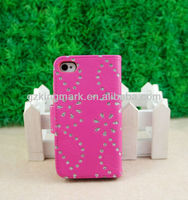 latest mobile pouch, bling diamond flower stand leather wallet flip cover case for Apple iphone 4 4s 5 5g 5s
