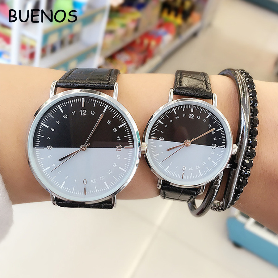 Fashion Simple Delicate Big Dial PU Leather Band Case Quartz Wrist Watch for Couple