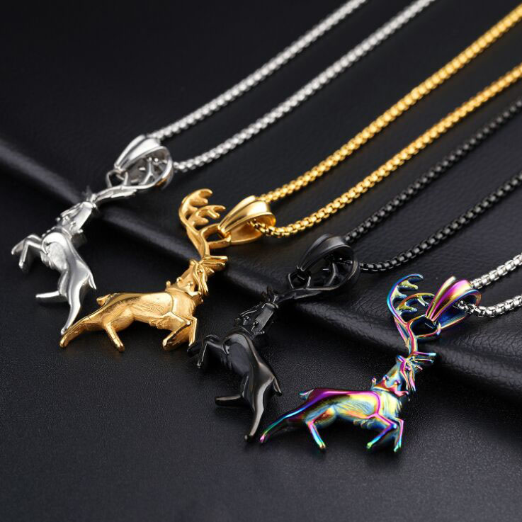 Christmas Elk Boutique Necklace Stainless Steel Fashion Men Necklace
