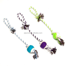 variety color Portable dog rope knot tennis ball chew Clean teeth toys for dog