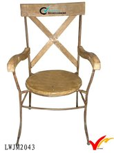 French country primitive hand made wooden and metal back-rest chairs