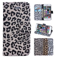 new animal pattern magnetic closure leopard leather case for iphone 6/6S