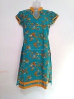 2015 New Style Printed Green Short Kurti in 100% cotton OEM Supply