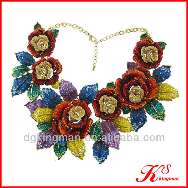 Rose Flower Full-jewelled Costume Jewelry Necklace