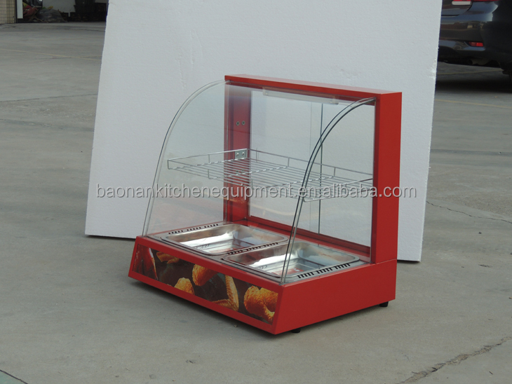 2017 Commercial Hot Food Snack Pie Glass Display Warmer Showcase With CE Certificate