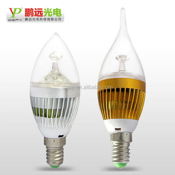 2014 China professional factory supply 4w e27 e12 e14 clear led candle wick