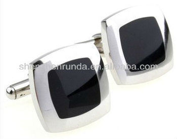 Design manufacture Stainless steel with black Epoxy 20*20mm size square shape men's brand cufflinks and studs fashion jewelries