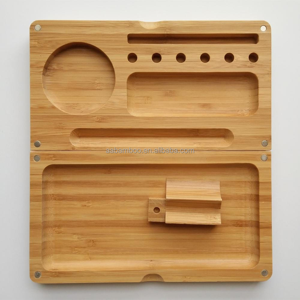 Wholesale High Quality Beautiful Customize Magnetic Bamboo Rolling Tray