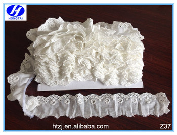 Newest Style tulle wrinkle lace trimming from hongtai