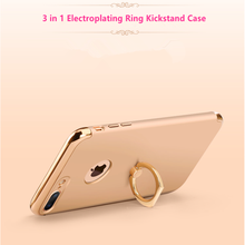 Electroplate Smartphone Cover With Metal Ring Kickstand for iphone 7 case for iphone 7 plus phone case