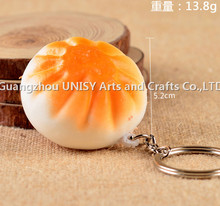 Factory direct simulation bread refrigerator key chain/steamed stuffed bun food keyring promotion gift