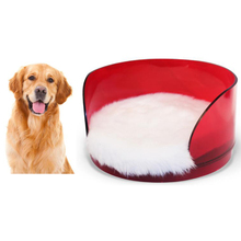 Factory Customized Red Color Curved Round Dog Bed Luxury Pet Bed Acrylic Pet Bed with Cushion