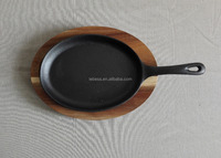 small size oval shape cast iron cookware frying pan