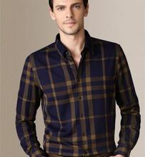Fancy design slim fit button down plaid 100% cotton shirt for men