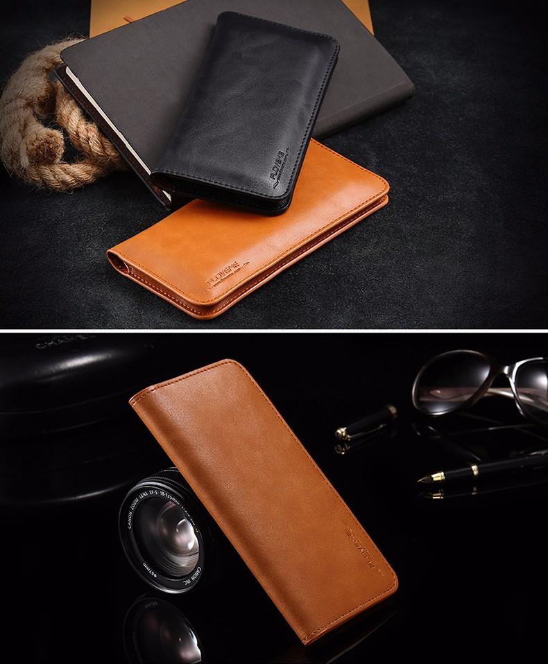 black/brown/red/dark blue card slot Floveme magnetic lock rcd case manufacturer real leather genuine universal wallet case