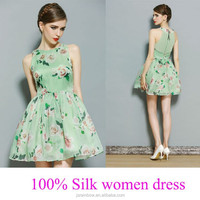 best quality green full print flowers women thai silk evening dress wholesale