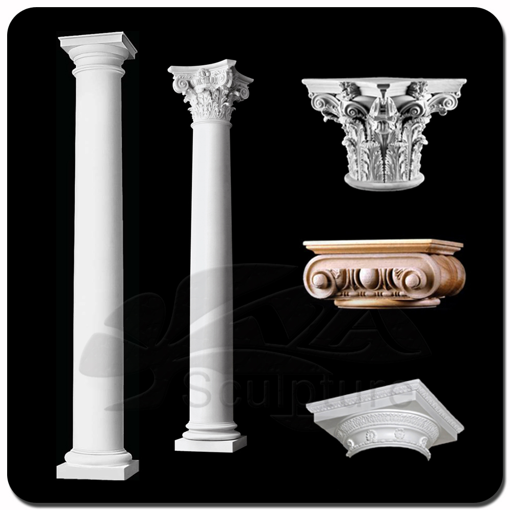 Outdoor White Decorative Marble Home Pillar VC-A042C