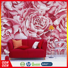 3d stereoscopic red flowers design wallpaper waterproof murals customized vinyl wallcovering