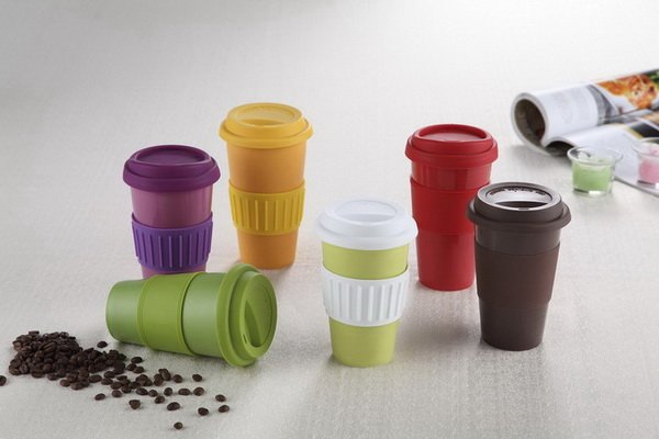 12oz eco-friendly reusable double wall ceramic coffee mug w/ silicone lid & grip