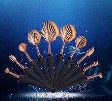 2017 private label plastic handle makeup brush oval makeup brushes set 10Pcs rose gold Shells <strong>cosmetics</strong>