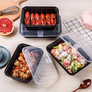 Clear plastic square lunch takeaway boxes