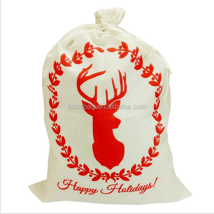 2017 new style Stock popular Christmas santa sack bag canvas santa sack wholesale gift bag