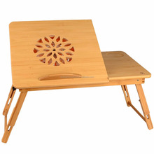 Natural Wooden Foldable Notebook Lapdesk Bamboo Table Bed Tray Stand With USB Cooling Fan