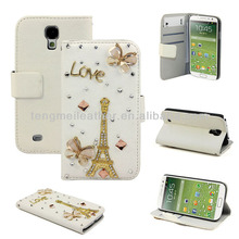 Girl Case For Samsung Galaxy S4,Flip Leather Case Butterfly Eiffel Pylon Bling Cover For Samsung Galaxy S4 i9500
