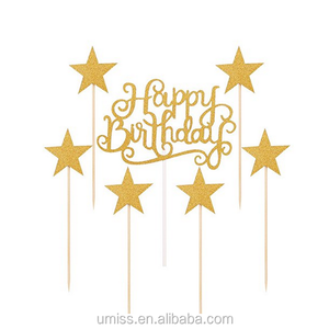 UMISS PAPER Gold Glitter Happy Birthday Cake Toppers and Five-pointed star,Cake Smash Birthday Party Decorations Set Cake Topper