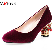 2016 autumn new arrival imported suede punkle style lady fancy special flower medium heel dress shoes